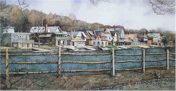 """Boathouse Row 4"" boathouse row prints by N. Santoleri"