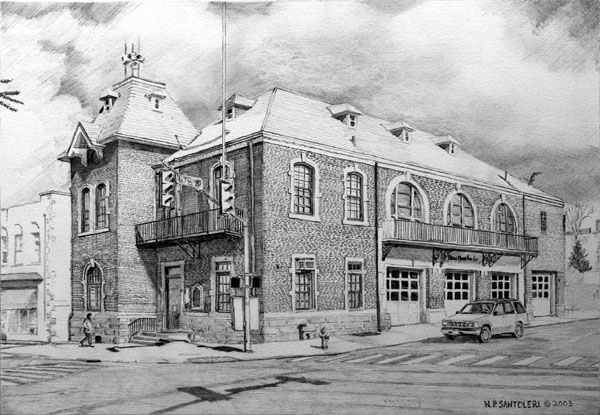 Bryn Mawr Fire Company pencil drawing by Nick Santoleri