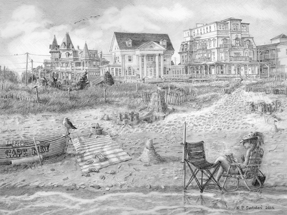Cape May Castles Pencil Drawing By Santoleri