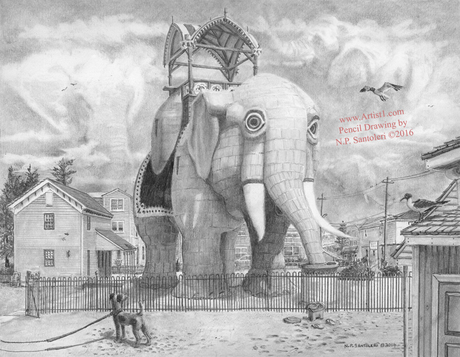 Lucy The Elephant Pencil Drawing by Nick Santoleri