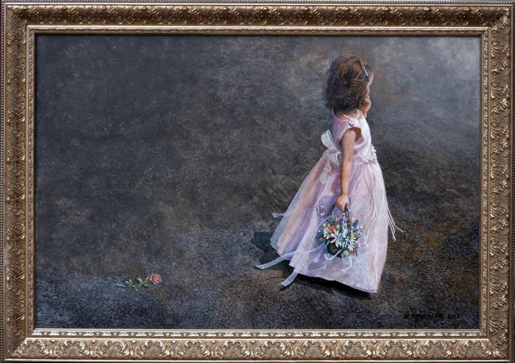 Flower Girl Painting by N. Santoleri - Oil and Acrylic Portraits
