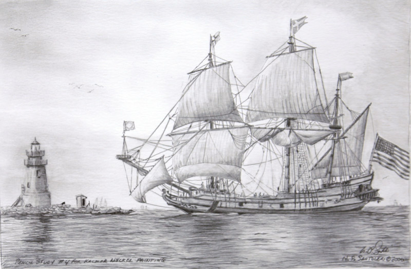 Kalmar Nyckel Study 4- Pencil by N. Santoleri