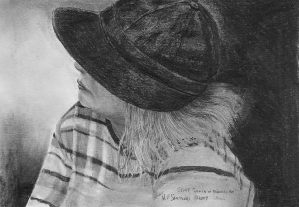 Lady with Black Hat - Pencil by N. Santoleri