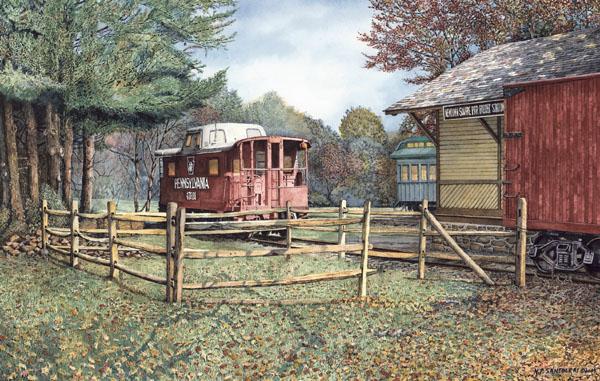 Newtown Square Train Station Watercolor Paintings by N. Santoleri