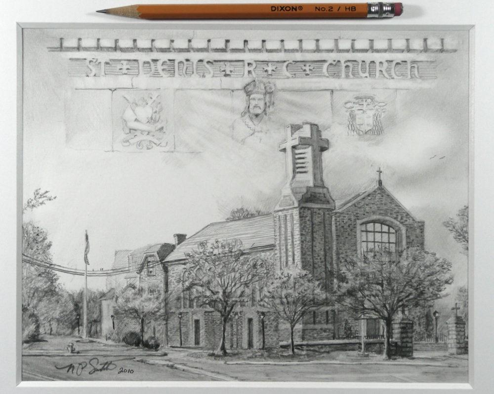 Saint Denis Church- Pencil by N. Santoleri