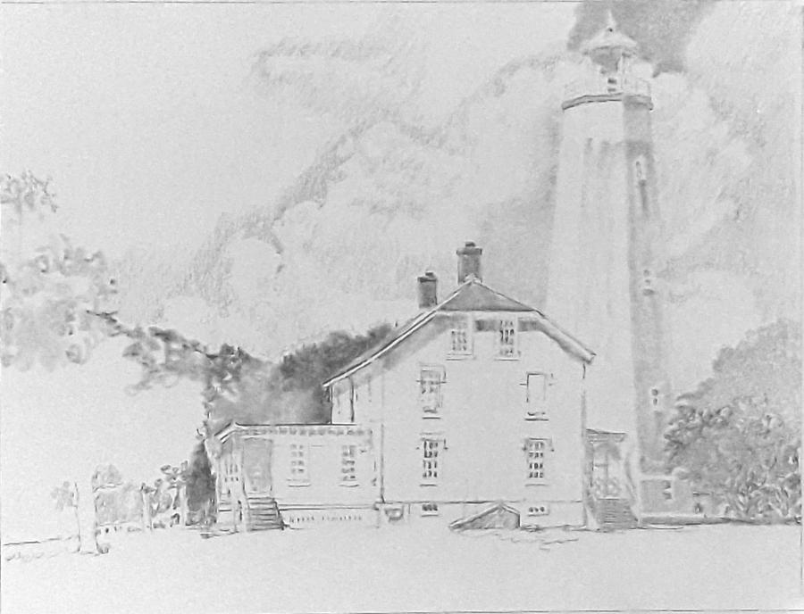 Sandy Hook Light - In progress 01 Pencil Drawing By N. Santoleri