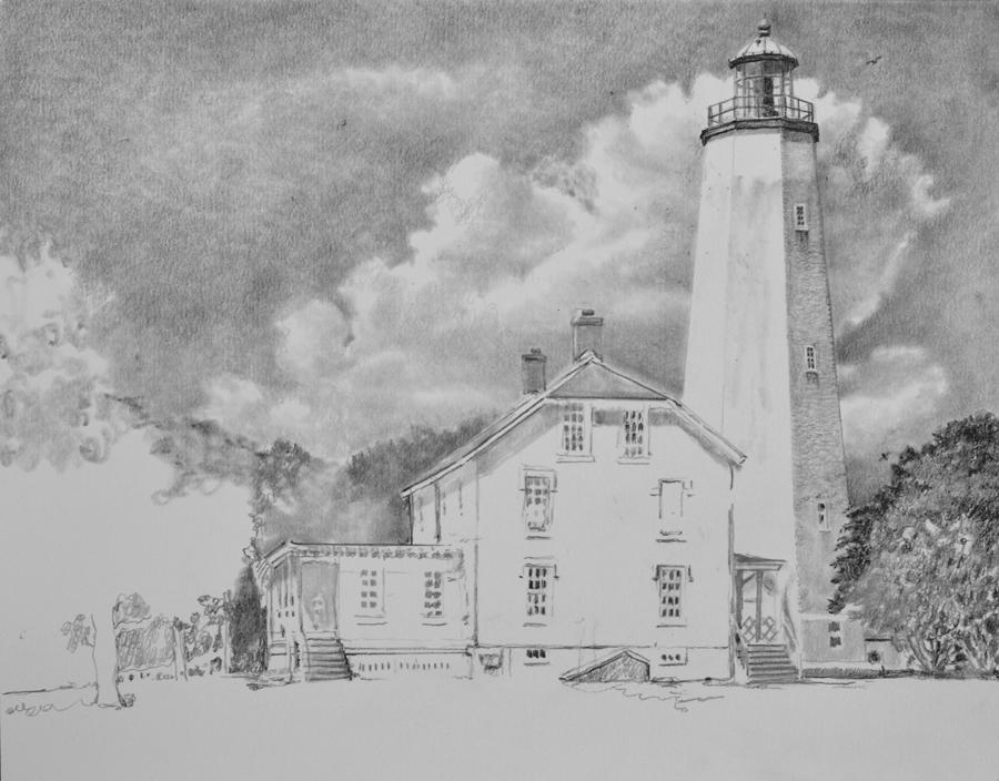 Sandy Hook Light - In progress 02 Pencil Drawing By N. Santoleri