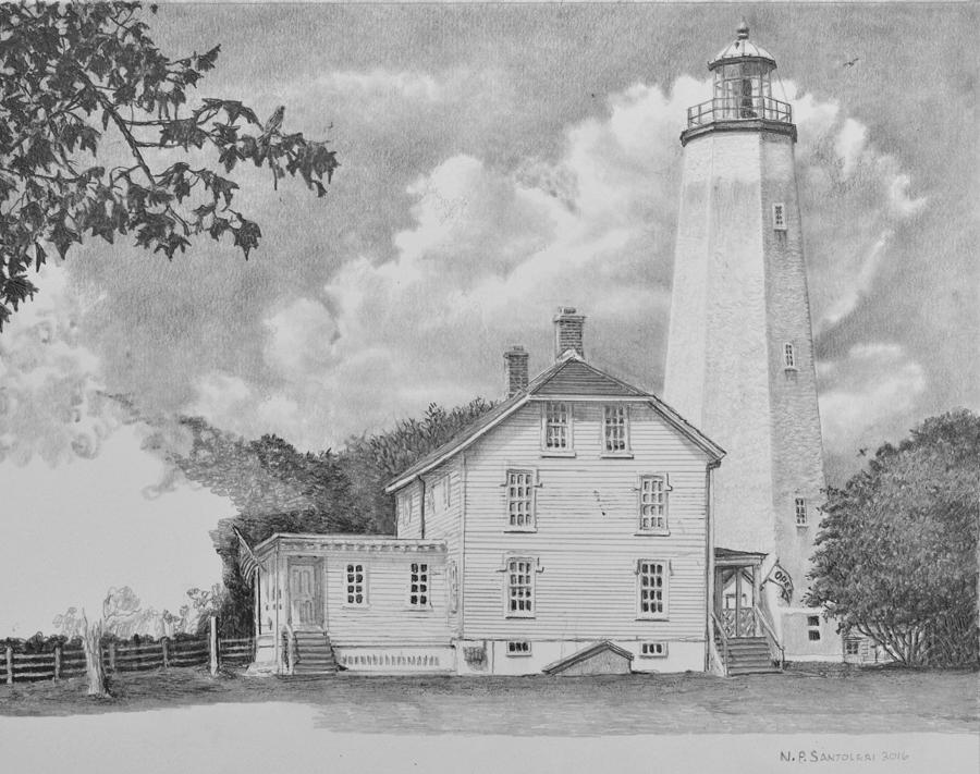 Sandy Hook Light - In progress 03 Pencil Drawing By N. Santoleri
