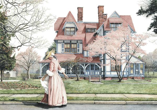 Open Edition Prints of Springtime Stroll watercolor by Santoleri