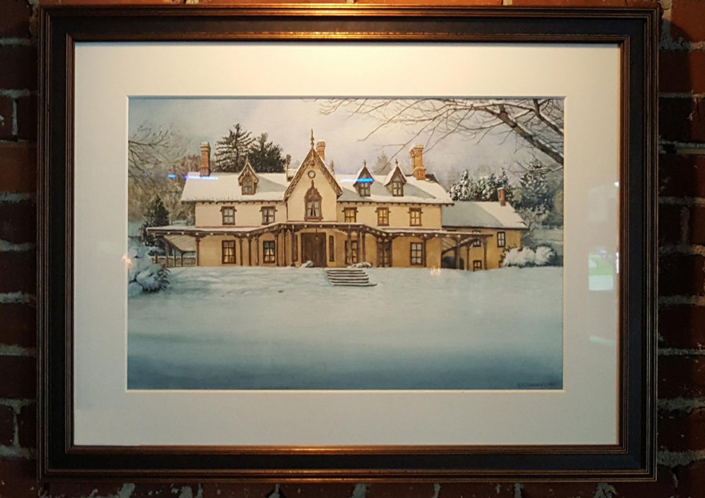 The Grange Estate Original Watercolor by Nicholas Santoleri Framed