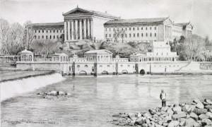 Philadelphia Waterworks pencil study by Nick Santoleri