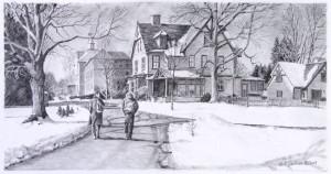 Winter Walk to Class pencil sketch by Nick Santoleri