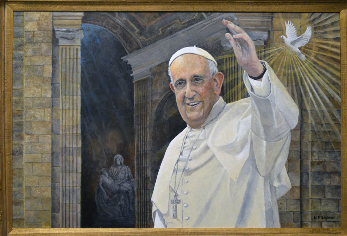 Pope Francis Painting In Progress