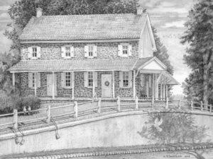 Newtown Square Quaker Meeting - Pencil Drawing by Santoleri