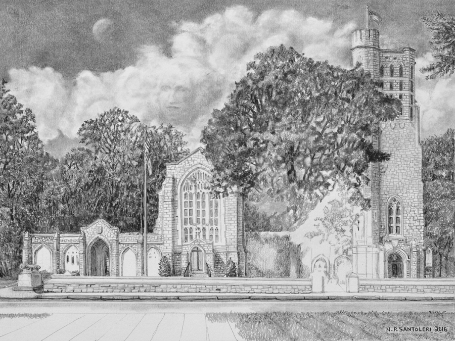 Washington Memorial Chapel Pencil drawing in progress 05 by Santoleri