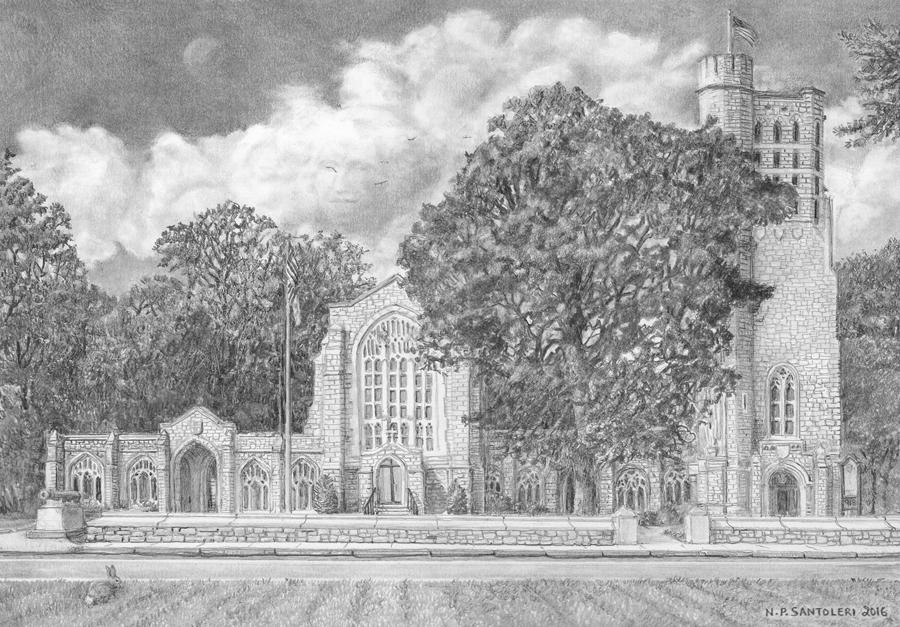 Washington Memorial Chapel Pencil drawing by Santoleri