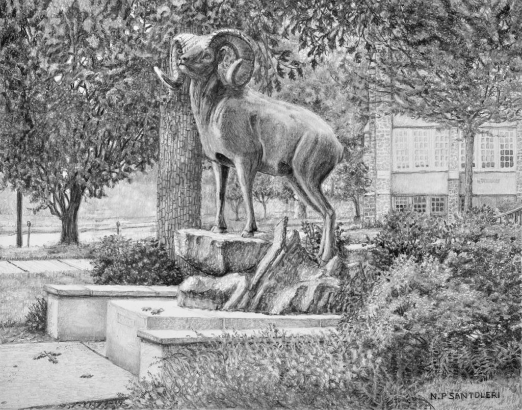 """Standing Guard"" (West Chester University Golden Ram) pencil drawing by Nick Santoleri"