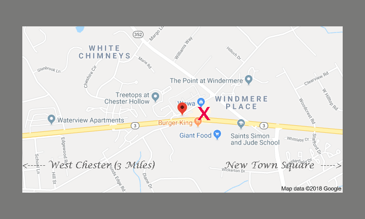 Location of Nicholas Santoleri Chester County Art Studio and Gallery