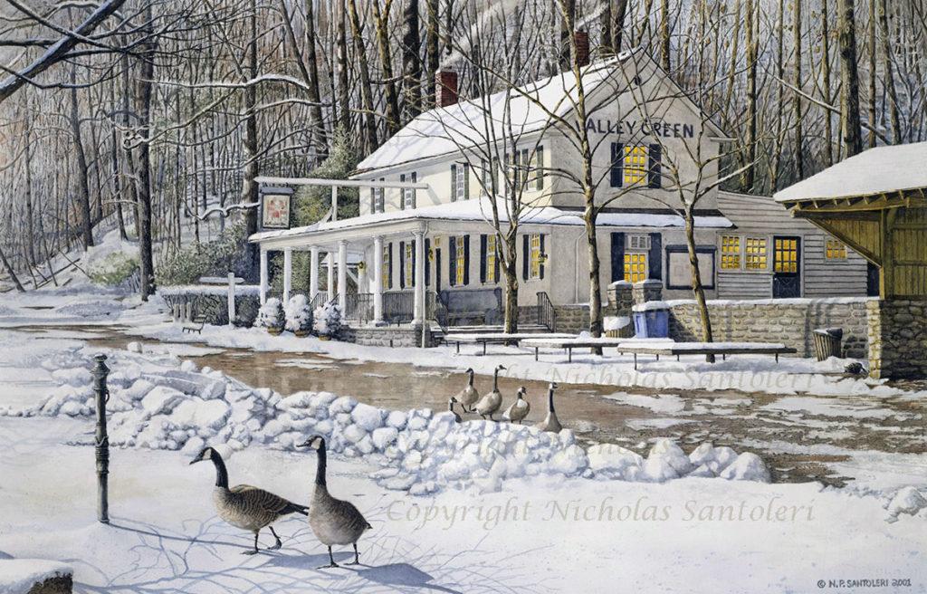 Valley Green Inn III Watercolor by Nicholas Santoleri
